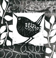 Little Bird 3 - Angie Mitchell Linocut Prints, Art Prints, Block Prints, Lino Art, Impression Textile, Linoleum Block Printing, Linoprint, Stamp Printing, Arte Popular