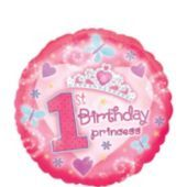 Foil 1st Birthday Princess Balloon 18in