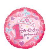 Foil 1st Birthday Princess Balloon 18in