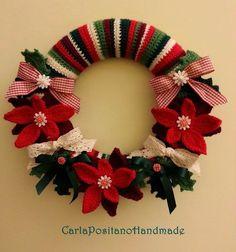 Gorgeous Christmas Wreath free crochet pattern - Free Crochet Christmas Wreath Patterns - The Lavender Chair Crochet Christmas Wreath, Crochet Wreath, Christmas Crochet Patterns, Holiday Crochet, Holiday Wreaths, Crochet Flowers, Christmas Crafts, Christmas Decorations, Christmas Ornaments
