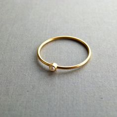Gold Ring Gold pearl ring Delicate Gold Ring by artemer Gold Cost, Gold Price, Thin Gold Rings, 14k Gold Ring, Alternative Engagement Rings, Gold Engagement Rings, Diamond Crown Ring, Seed Pearl Ring, Promise Rings For Her