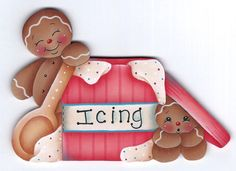 Gingers n Icing Painting E-Pattern par GingerbreadCuties sur Etsy Gingerbread Ornaments, Gingerbread Decorations, Christmas Gingerbread, Christmas Wood, Christmas Wreaths, Christmas Crafts, Xmas, Gingerbread Houses, Gingerbread Cookies