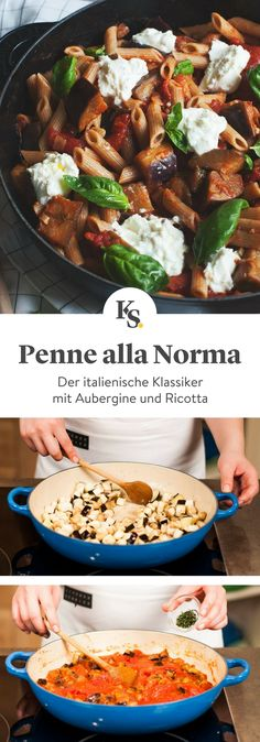 Penne alla Norma The post Penne alla Norma & Dinnerparty mit Freunden & Rezeptideen appeared first on Pasta . Pizza Recipes, Veggie Recipes, Vegetarian Recipes, Dinner Recipes, Healthy Recipes, Lacto Vegetarian Diet, How To Cook Pasta, Italian Recipes, Easy Meals