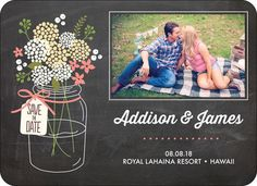 Chalkboard Mason Jar Photo Save the Date Magnets