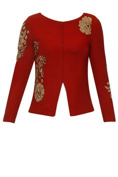 Ox blood floral zardozi embroidered mid riff jacket available only at Pernia's… Sari Blouse Designs, Blouse Patterns, Blouse Styles, Indian Attire, Indian Wear, Indian Outfits, Latest Designer Sarees, Designer Dresses, Salwar Kameez