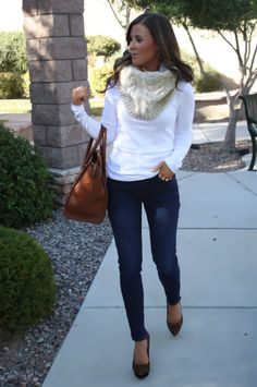 Chunky neutral scarf (or fur scarf), white top, denim jeans, leopard shoes