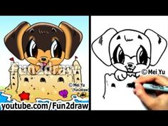 How 2 draw cute animals rottweiler puppy cute dogs how to draw a dog for summer Cute Animal Drawings, Love Drawings, Disney Drawings, Cartoon Drawings, Cartoon Illustrations, Cartoon Dog, Cute Puppies, Cute Dogs, Cartoon Drawing Tutorial