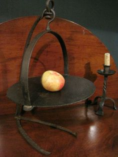 """Antique 1700s Colonial Cast and Wrought Iron """"Open Hearth"""" Griddle and Crane Trammel  SOLD   North Bayshore Antiques"""