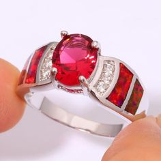 Red Color Crystal Decorated Silver Plated 10Mm Width Ring For Women Jek996