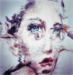 The eyes are vibrant, magnetic, and glitch like a TV screen.Harding Meyer paints female faces with great technique, each brushstroke forming his characteristic stretch, smudge and mosaic effects. Which all give a beautiful distorted appearance that possibly hints admiration for Francis Bacon. Working with oil on large-sized canvases, Meyer often paints in his studio in.... http://illusion.scene360.com/art/42853/harding-meyers-2014-paintings/