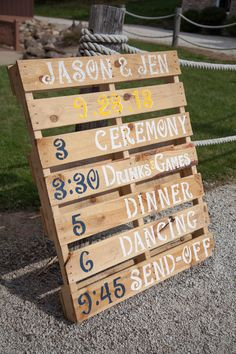 Jason + Jen Photo By Sharpe Images Photography, Massillon, Oh Rustic wedding DIY wedding sunflowers burlap flowers cowboy boots baseball ring shots pallets pallet wedding program Wedding Programs, Wedding Signs, Our Wedding, Dream Wedding, Trendy Wedding, Wedding Timeline, Wedding 2015, Casual Wedding, Wedding Menu