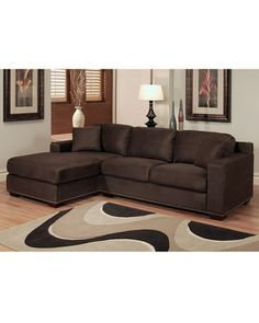 Abbyson Living Monrovia Dark Brown Nailhead-Trim Microsuede Sectional Sofa