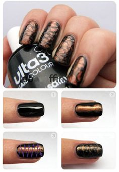 And Bronze Nail Art - AllDayChic For all the girls out there who love black nails, this tutorial is for you.…Black And Bronze Nail Art - AllDayChic For all the girls out there who love black nails, this tutorial is for you. Black Nail Art, Black Nails, Simple Nail Designs, Nail Art Designs, Nails Design, Fun Nails, Pretty Nails, Sexy Nails, Bronze Nails