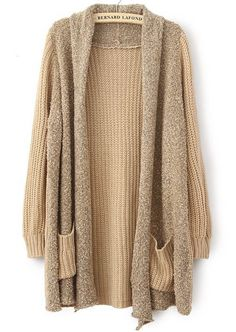 Khaki Long Sleeve Pockets Loose Cardigan Sweater