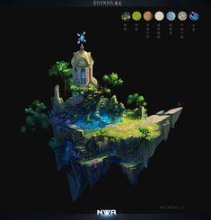 "This looks amazing :"") Game Environment, Environment Concept, Fantasy Concept Art, Fantasy Art, Isometric Art, Landscape Concept, 3d Texture, Digital Painting Tutorials, Art Station"