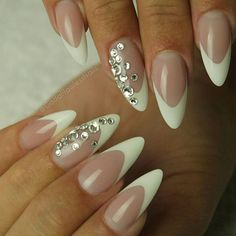French manicure never gets old! #frenchnails #gelnails #naildesign #notpolish #longnails #nailextensions #flawless #nails #beauty #style #elegance #swarovski #crystals