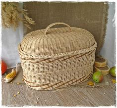 """""""Теплая осень """" Большой плетеный короб - жёлтый,короб плетеный,Короб для рукоделия"""
