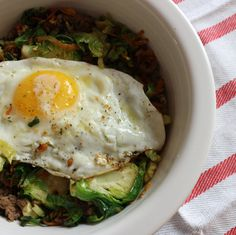 Beef + Brussels Sprout Breakfast Bowl.