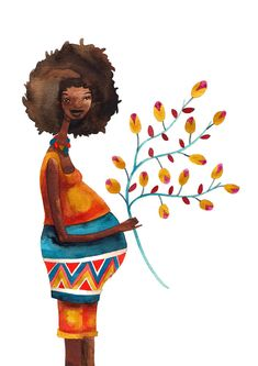 Afro Mother Woman Print Illustration Watercolor Pregnancy Maternity Baby. via Etsy.