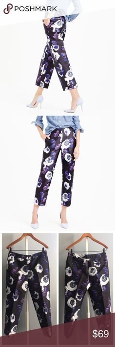"""J. Crew patio pant in violet poppy Such elegance in these J. Crew patio pants! Wear them to your next outdoor dinner party or garden tea time!  Brand new without tag and never worn. Measurement (laying flat):  waist- 15"""" inseam- 23.5"""" J. Crew Pants Ankle & Cropped"""