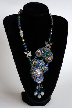 """""""Royalty"""" - Bead embroidered necklace inspired by the lovely cabochon."""
