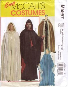 McCall's Easy Sewing Pattern M5957 Adult Renaissance Cape / Cloak with Hood