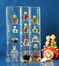 Clear Acrylic Mini Perfume Display Showcase Stand Cosmetic Organizer Makeup case |  eBay $37.81