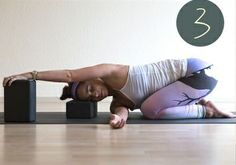 How comfortable does this look? Using the blocks to raise the floor surface is a great way to practice the pose. Yin Poses, Yoga Poses For Two, Easy Yoga Poses, Asana, Yoga Shoulder, Yoga Iyengar, Wall Yoga, Restorative Yoga Poses, Yoga Anatomy