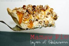 Mamaw Pie: A No-Bake Pie with cream cheese, whipping cream, caramel, pecans and MORE! Insanely delicious.