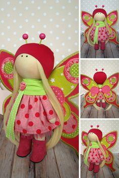 Butterfly doll Handmade doll Muñecas Art doll Fabric doll Rag doll Baby doll Red doll Bonita Tilda doll Cloth doll Textile doll by Olga G