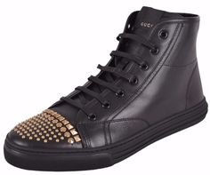 NEW Gucci Women's Black Leather Studded High Top Sneakers Trainers Shoes 37.5
