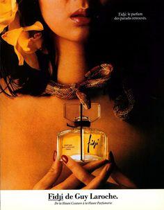 GUY LAROCHE Fidji Perfume Snake Paradise Color 1982 ADVERTISEMENT #GuyLaroche