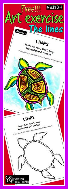 I am happy to share this free reproducible sheet to teach lines. This exercise IS PART OF a collection of 15 exercises, covering all of the ART language in primary school. Grades 3-4