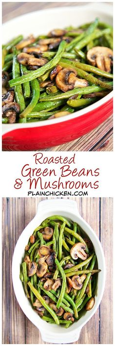 Low Carb Recipes To The Prism Weight Reduction Program Roasted Green Beans And Mushrooms Recipe - Fresh Green Beans And Mushrooms Tossed In Olive Oil, Balsamic, Garlic Salt, Pepper And Baked. So Simple And Sooo Delicious Ready In About 20 Minutes. Healthy Recipes, Side Dish Recipes, Vegetable Recipes, New Recipes, Vegetarian Recipes, Cooking Recipes, Beans Recipes, Recipes Dinner, Veggies