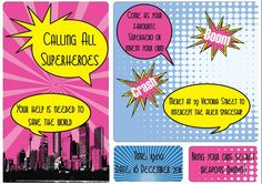 Super hero party invitation design by Very Cherry Design Studio Stationery Design, Invitation Design, Superhero Party, Can Design, Party Invitations, Cherry, Studio, Stationary Design, Studios