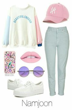 I am up to finding this outfit. I love pink lips. Maybe lipgloss might do for me. And I have a pink baseball cap. Korean Fashion Kpop, Kpop Fashion Outfits, Korean Outfits, Teenager Outfits, Outfits For Teens, Girl Outfits, Mode Cool, Bts Clothing, Bts Inspired Outfits