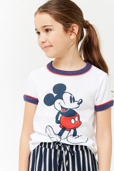 Girls Mickey Mouse Graphic Ringer Tee (Kids)