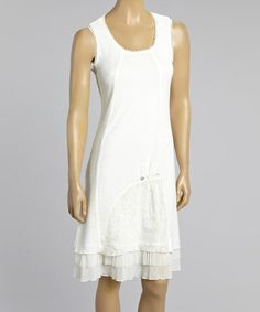 59fe1c6fae This White Floral Embroidered Flutter Shift Dress - Women & Plus by Zoé  Collection is