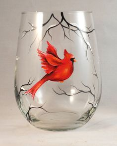 Red Cardinal Hand Painted on Stemless Wine Glass by SilviasBrush, $22.00