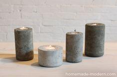 Des formes simples pour un résultat réussi > http://homemade-modern.com/ep10-diy-modern-candleholders/