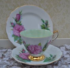 """Royal Standard Famous Roses Tea Trio """"Prelude"""" Tea Cup, Saucer, Tea Plate, Vintage English Rose and Gilt Bone China, Excellent Condition by ImagineHowCharming on Etsy"""