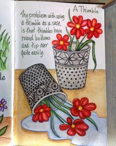 642 Tiny Things to Draw - Draw a Thimble. I think I might have gotten carried away. #642tinythingstodraw #sketch #sketchbook #watercolor #stillmanandbirn #artjournal