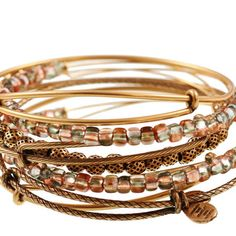 Alex and Ani Sand Shimmering Sea Bead Expandable Wire Bangles
