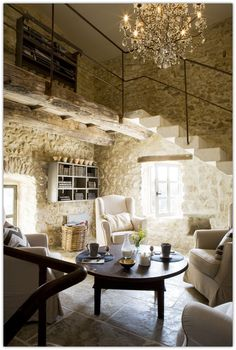 Magnificent house in Provence, France ~ The stone walls are amazing in this French Country Antique Home.