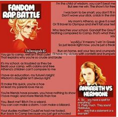 Fandom Rap Battle: Annabeth vs Hermione. Who won?
