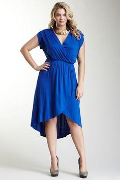 Loveappella V-Neck Hi-Lo Maxi Dress - Plus Size on HauteLook