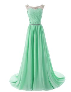 Dressystar Beaded Sleeveless Bridesmaid Dresses Prom Gown with Beads Embellished Waist Size 6 Mint