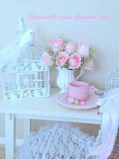 My romantic bird cage with roses   Shabby chic blog  romantic blog