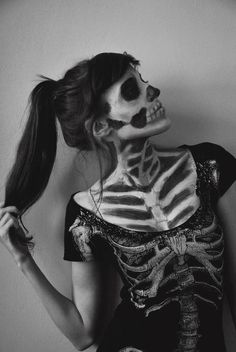 Skeleton - Make-up put on any showing pieces of skin, to show that it is a skeleton. Grey and white flawless base with black blended out contouring to show sunken in features and rib cage on chest.
