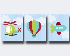 Boy Nursery Art Print, Baby Boy Plane Helicopter Hot Air Balloon Wall Art, Suits Blue, Green and Red Nursery,Boys Bedroom Decor Gold Baby Nursery, Red Nursery, Baby Nursery Themes, Baby Room Art, Baby Boy Nurseries, Balloons, Air Balloon, Balloon Ideas, Balloon Wall